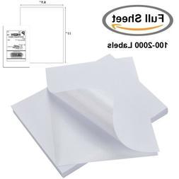 "100-2000 Full Sheet Shipping Labels 8.5""x11"" Self Adhesive L"